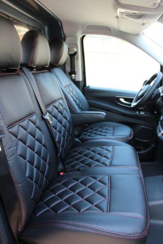 Sitzbezüge Kunstleder Rote Naht passend für Mercedes Sprinter W906 V-Klasse Vito