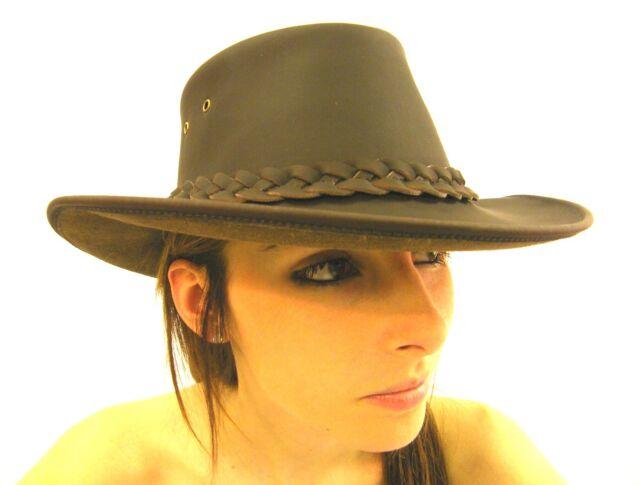 a0da2ed568c0b Campbell Cooper Leather Australian Kangaroo Bush Hat Brown Large 59 ...