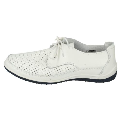Down To Earth F3R098 Ladies Flat White Leather Lace Up Shoe UK 4,6,/& 7 R1A