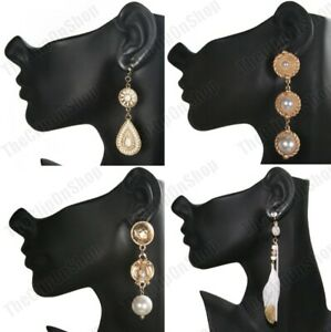 CLIP-ON-retro-3-034-4-034-LONG-GOLD-FASHION-EARRINGS-vintage-style-PEARL-bead-clips