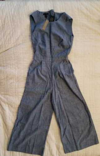 G1657 SERENE BLUE NEW WOMEN/'S 000 4 16 J CREW CHAMBRAY JUMPSUIT WIDE LEG PANTS