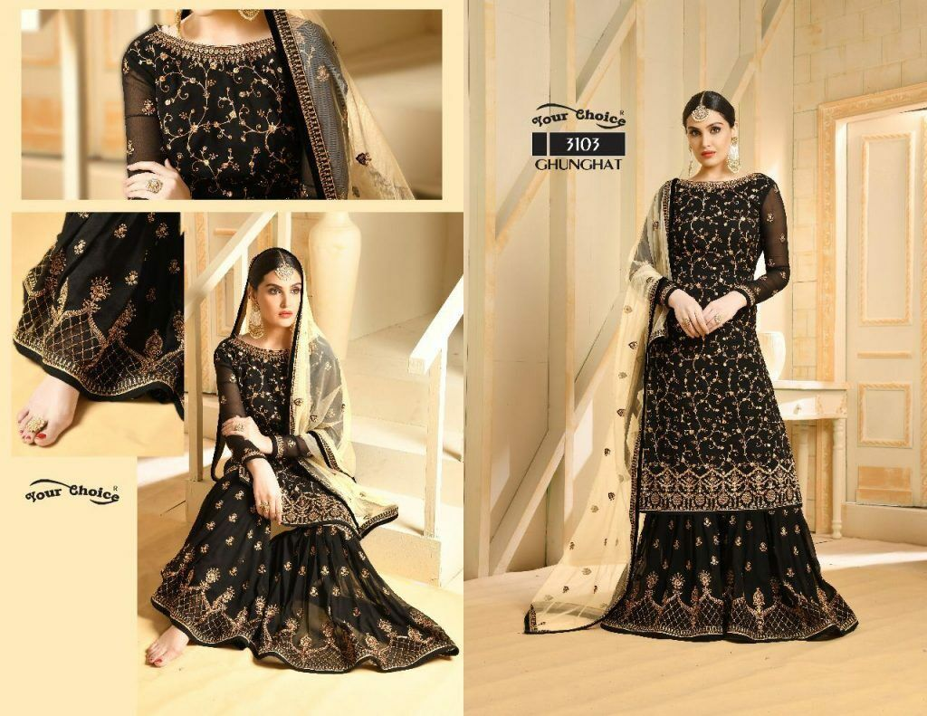 Indian Designer Shrara's Suit Fully stitched For EID Wedding Party Ghunghat 3103