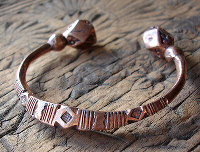 Niger Tuareg shiny large chunky hand engraved  heavy copper bracelet +diamonds
