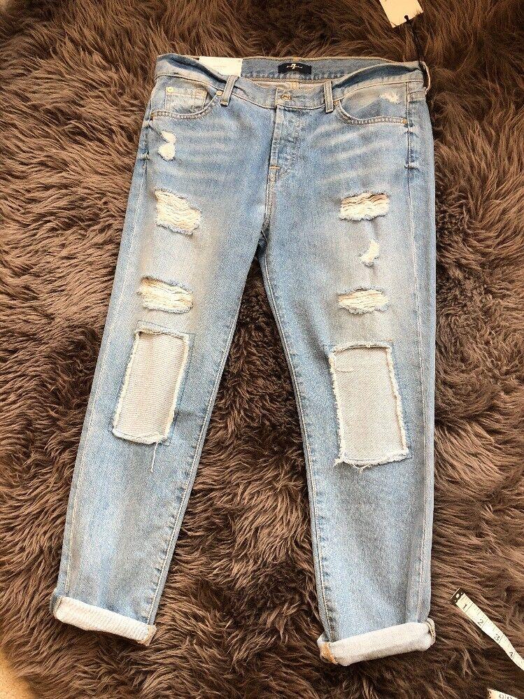 NWT 7 For All Mankind Josefina Feminine Boyfriend Distressed Jeans SZ 28  219