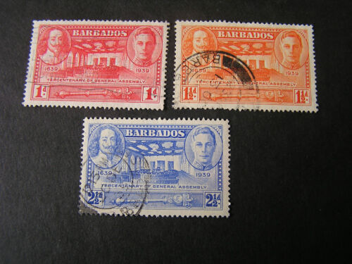 BARBADOS, SCOTT # 203/204(2)+205, TOTAL 3 1939 TERCENTENARY OF ASSEMBLEY USED