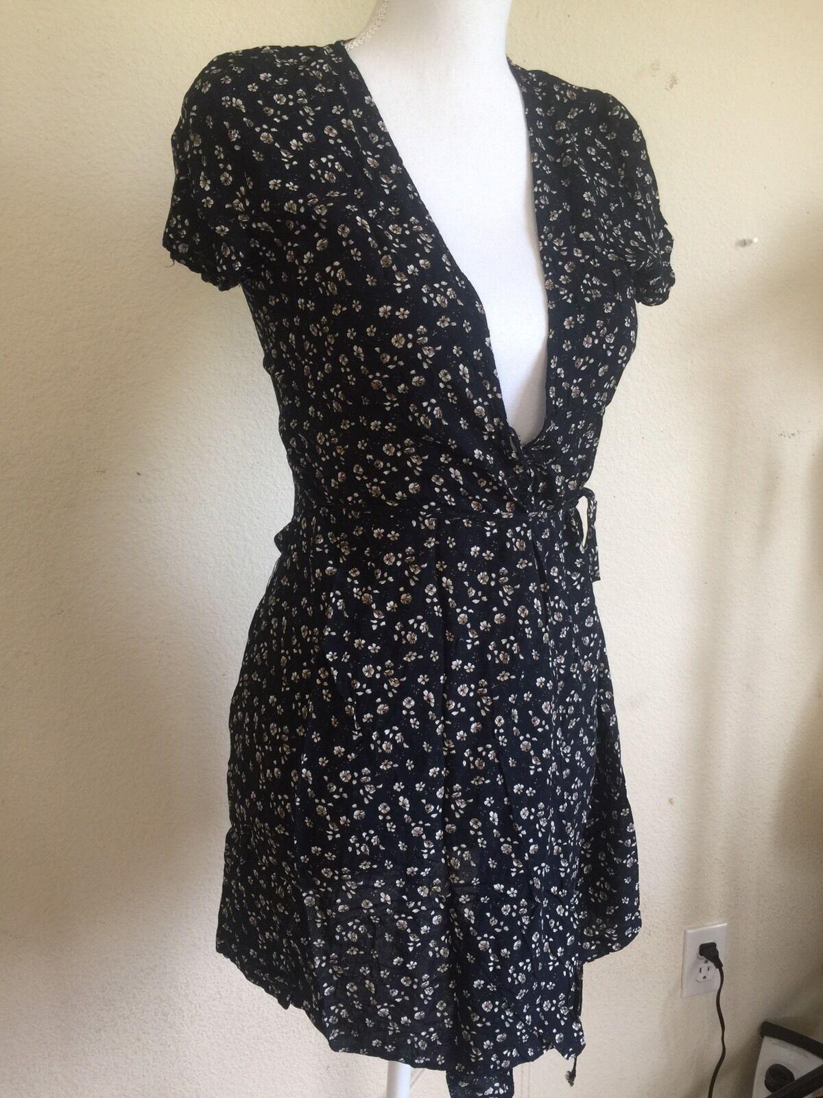 Brandy Melville Navy Brwon Floral V Neck Robbie Self Tie Wrap Dress ...