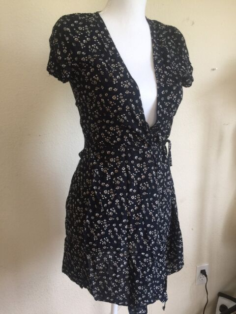 New Brandy Melville Navy Brwon Fl V Neck Robbie Self Tie Wrap Dress S