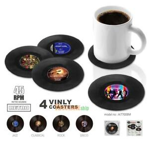 4pcs-Retro-Vinyl-Groovy-Record-Coasters-Cup-Drinks-Holder-Mat-Tableware-Placemat