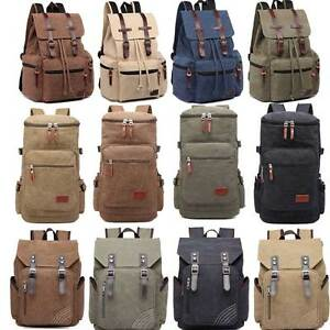 a54b18b591 Image is loading Unisex-Canvas-Backpack-Tourist -Camping-Mountaineering-Hiking-Rucksack