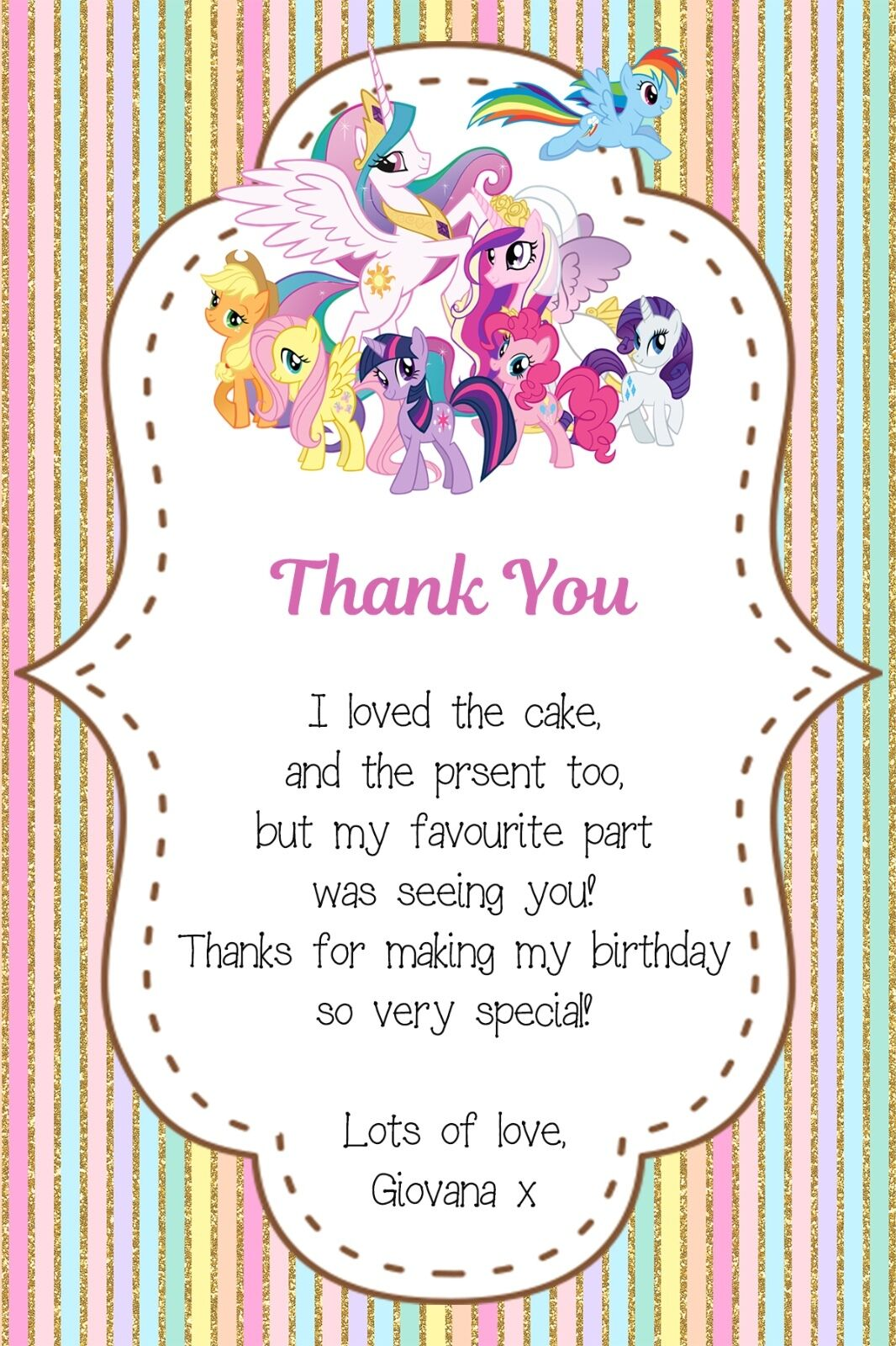 Personalised My Little Pony Birthday Thank You Card inc. Envelopes MLP2