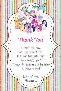 Image Is Loading Personalised My Little Pony Birthday Thank You Card