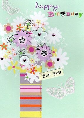Vase Flowers Handmade Birthday Card Second Nature Tag Art Greeting Cards