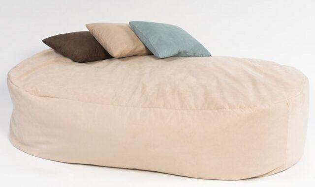 16cuf FAUX SUEDE BEANBAG BED BEAN BAG SOFA FILLED CREAM