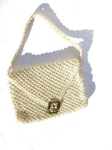 Vintage 70's White Macrame Envelope Shoulder Bag W