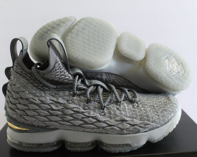 4d4eb2b171d Nike Lebron XV 15 City Mens 897648-005 Wolf Grey Gold Basketball Shoes Size  11.5