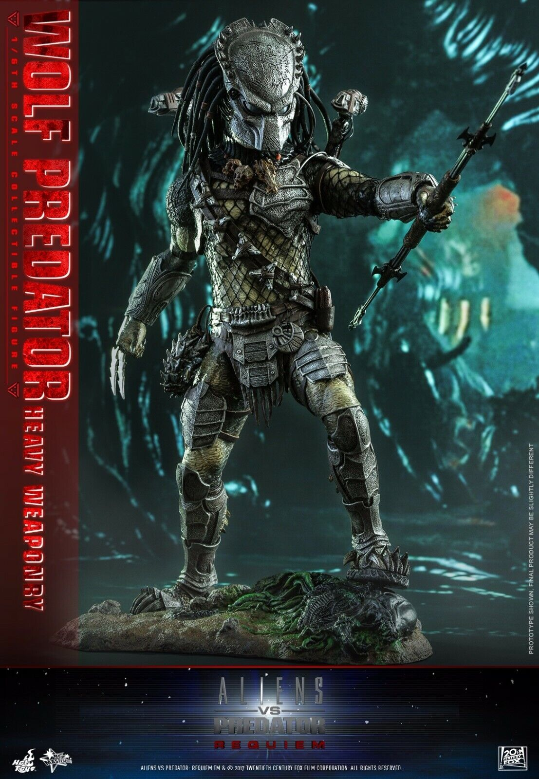 HOT TOYS MMS443 AVP Requiem Wolf Predator Heavy Weaponry 1 6 Figure