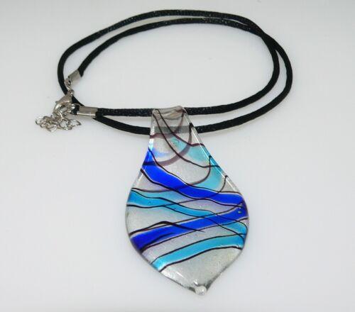 Bezaubernder MURANO ART Silberfolie Lampwork Anhänger Blatt türkis blau 317m