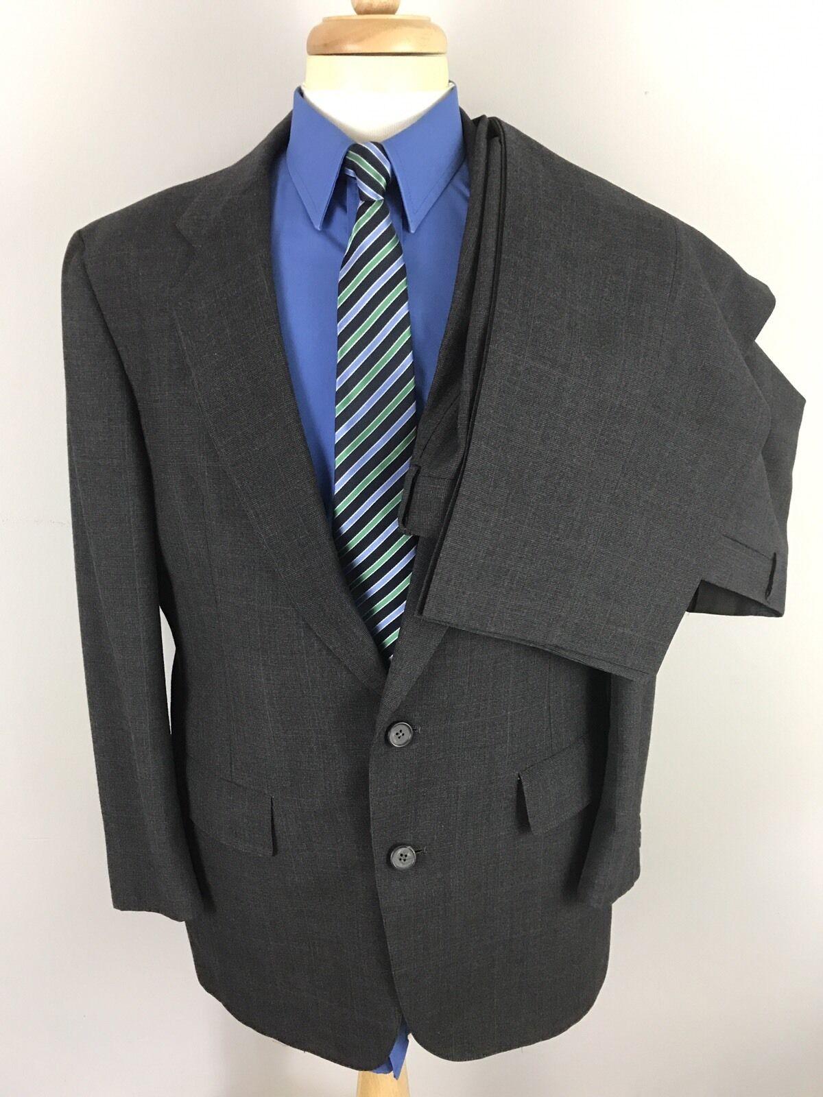 Vtg Hart Schaffner Marx 2 btn grau Blau Windowpane Geschäft Suit 41R 37x28