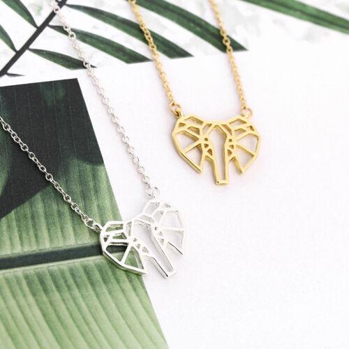 Women Cute Simple Geometric Origami Animal Elephant  Pendant Necklace Jewelry RE