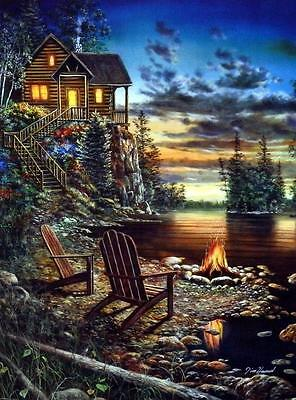 "Summer Pleasures Art Print By Jim Hansel Lake Cabin  Image Size 12"" x 16"""