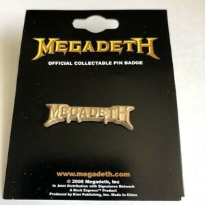 MEGADETH Gold Logo : Metal Die-cut Butterfly PIN BADGE Official Licensed Merch