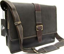 Large Messenger Satchel Bag Dark Brown Real Leather Visconti New 16160