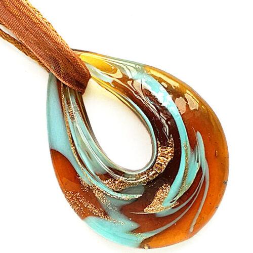 Gold Brown Blue Teardrop Lampwork Glass Murano Bead Pendant Ribbon Wax Necklace