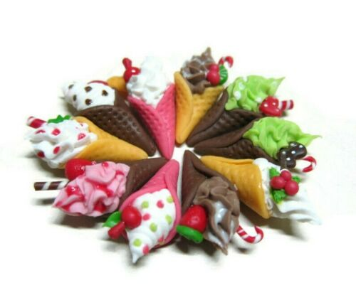 10 Loose Christmas Ice Cream Cone Dollhouse Miniatures Food Bakery Holiday