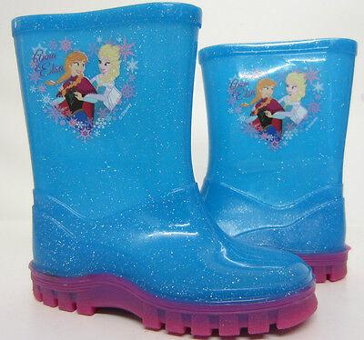 Botas Wellington Niñas Azul Glitter Anna-Elsa de Frozen UK6 a 11 (R13B)