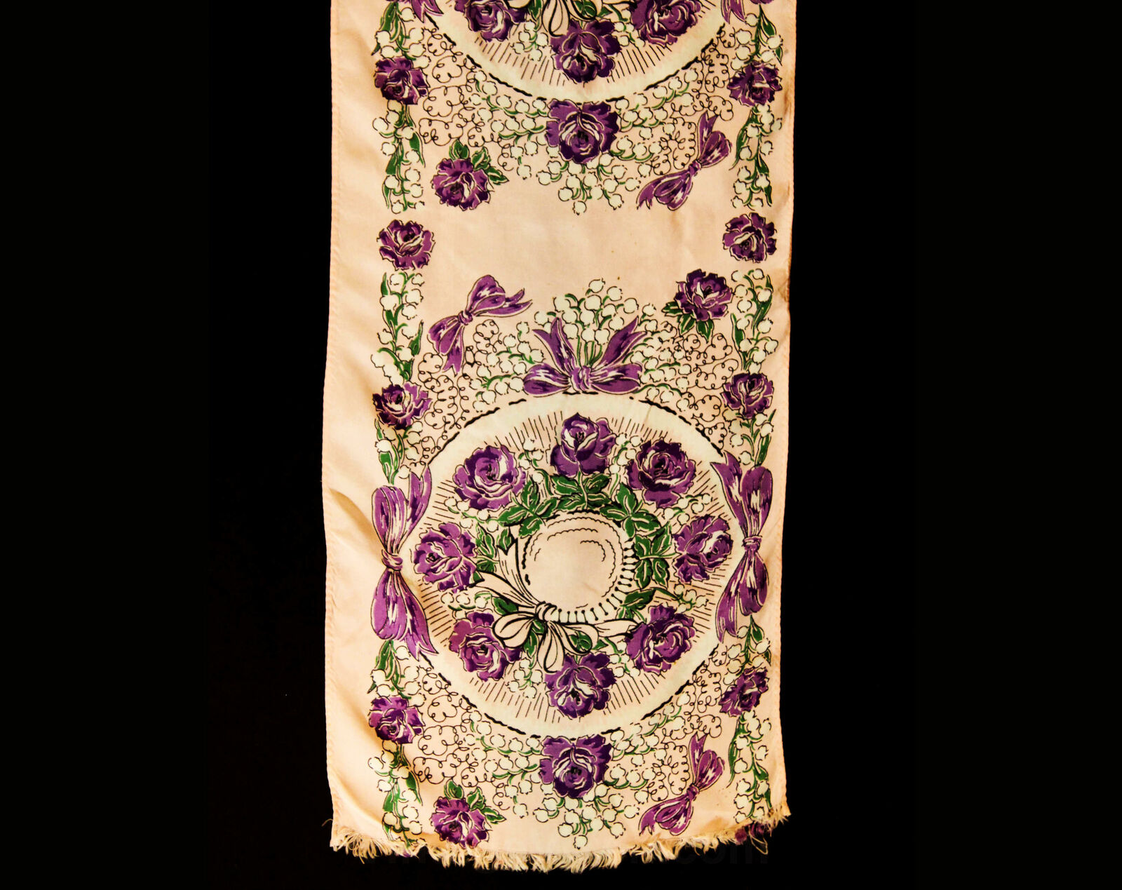 1940s Easter Bonnet Rayon Scarf - Purple & Pink R… - image 3