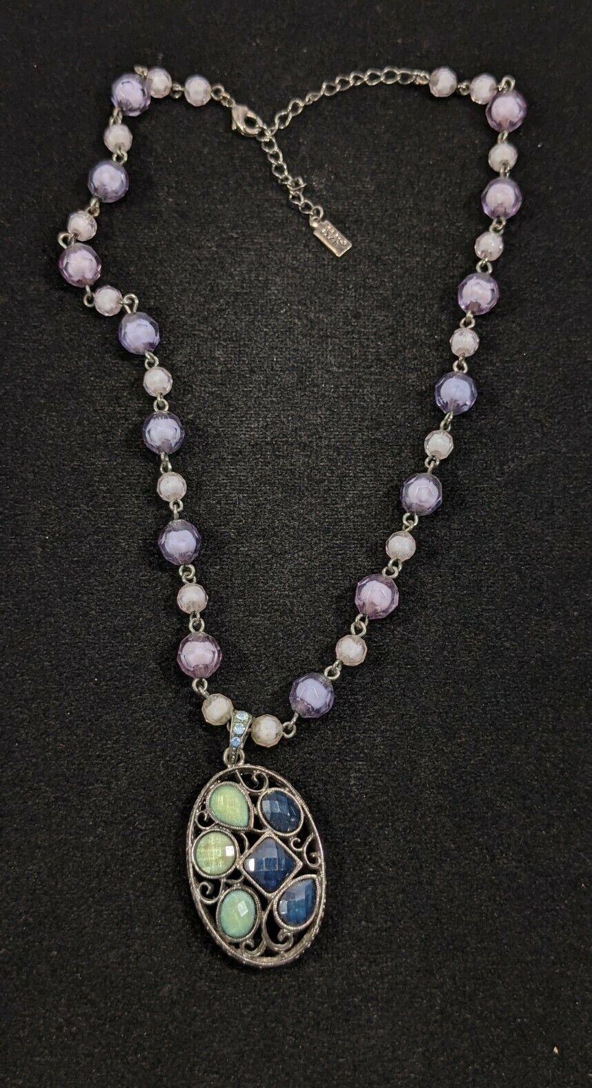 1928 Gunmetal Gray Purple Green Acrylic Bead Pendant Necklace 14868