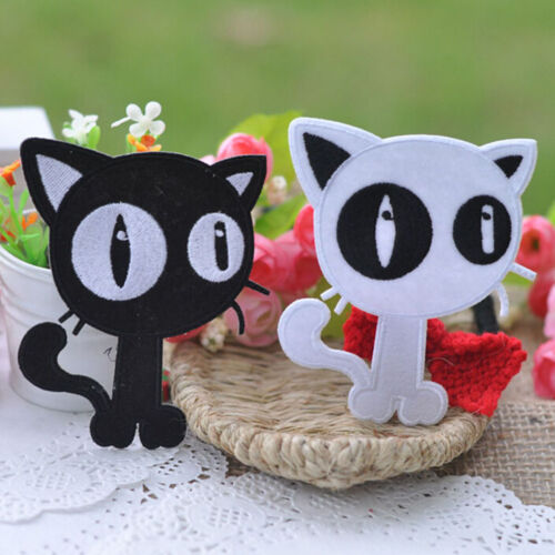 Embroidery Cloth Iron On Patch Sew Motif Applique Black White Cats 2pcs TgHV