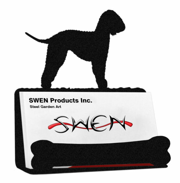 SWEN Products BEDLINGTON TERRIER Dog Black Metal Letter Napkin Card Holder