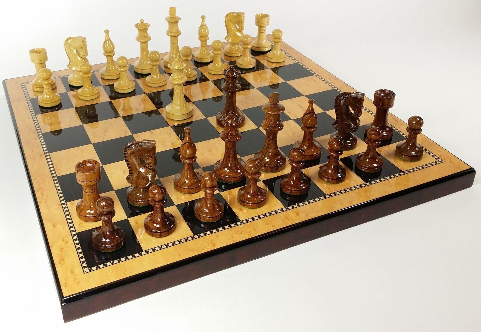 Sheesham LACQUERED RUSSIAN Staunton Wood Chess Set 18 Walnut & Maple color Board