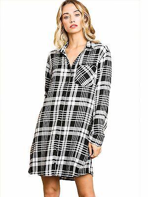Black White Flannel Plaid Print Long Sleeve Button Front