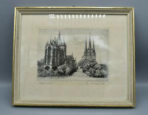 Original-aguafuerte-Erfurter-Dom-en-el-marco-de-firmado-ponickner