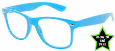 GLOW IN THE DARK VINTAGE RETRO OWL CLEAR LENS SUNGLASSES PARTY BLUE