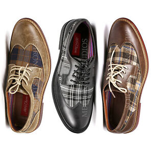 Metrocharm-Men-039-s-Plaid-Lace-Up-Wing-Tip-Classic-Oxford-Fashion-Dress-Shoes