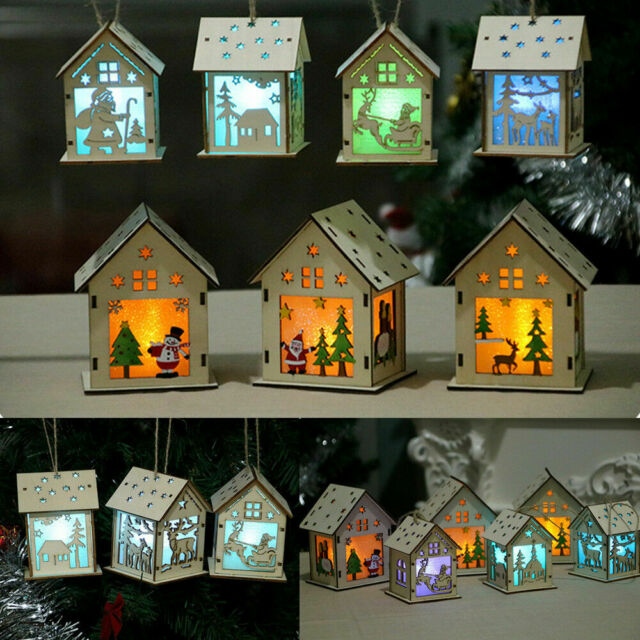 LED Light Wood House Christmas Tree Hanging Pandent Ornaments Holiday Decors