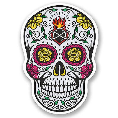 2 x Sugar Skull Vinyl Sticker Decal iPad Laptop Car Bike Helmet Girls Gift #4677