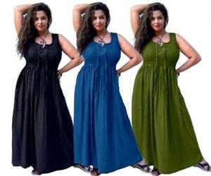Details about Bohemian Maxi Dress - Smocked Lacing Empire Waist -  LotusTraders R373 Plus Size