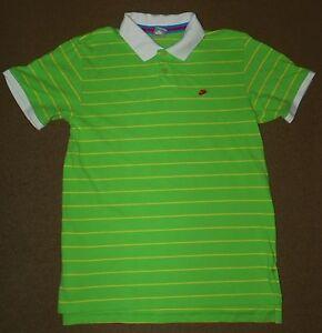 Mens Nike Lime Green Yellow Striped Polo Shirt Size L Golf