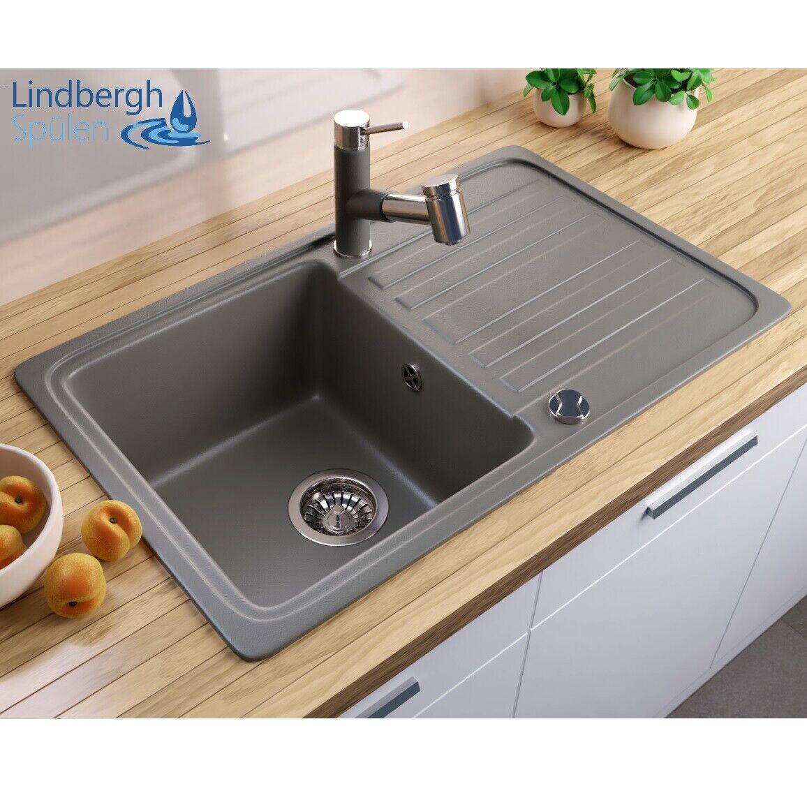 "LINDBERGH® Granitspüle ""LUN"" inkl Siphon Einbauspüle Küchenspüle"