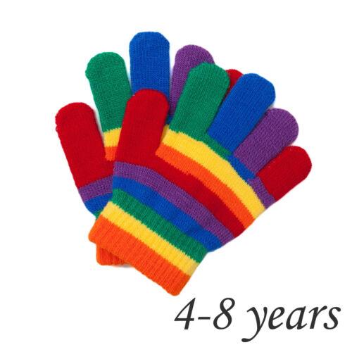 Kids Unisex Rainbow Knitted Winter Glove Boy Girl Children Winter 2-4 4-8 Years