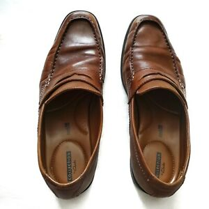 clarks collection mens 95 m brown leather penny loafers
