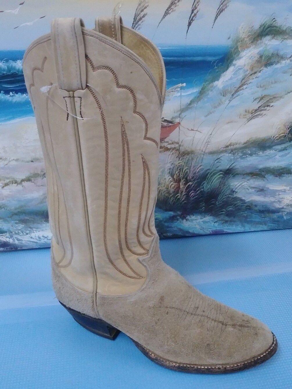 Tony Lama style 4070 Mens Western Beige Leather Boots Sz 7D