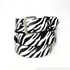 Zebra Stripes Printed Leather Belt Removable Roller Buckle Unisex Mens Womens