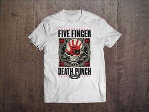 Five-Finger-Death-Punch-T-shirt-FFDP-Men-White-USA-Rock-Band-Shirt-Tee-VOLBEAT
