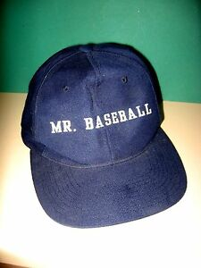 MR-BASEBALL-BASEBALL-COACH-FAN-BASEBALL-CAP-NAVY-WHITE-PRINT-VG-PRE-OWNED