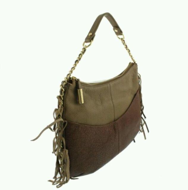 Bodhi Handbags New Gaansevort Brown Distressed Leather Chain Hobo Handbag